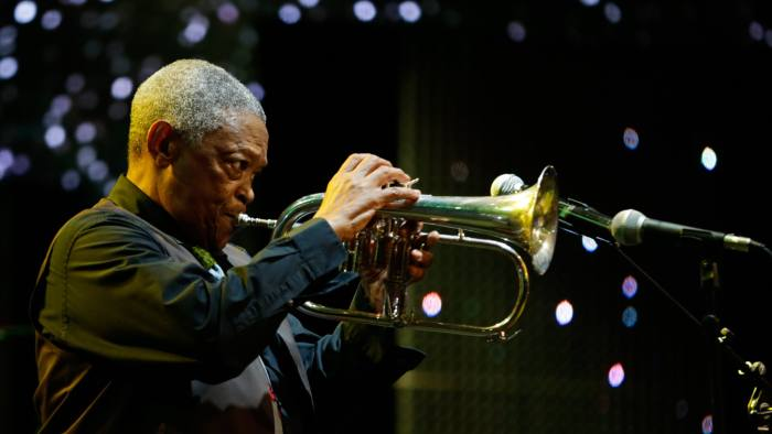 epa06466762 (FILE) - South African jazz musician Hugh Masekela performs on stage during the Safaricom International Jazz Festival in Nairobi, Kenya, 12 August 2016 (reissued 23 January 2018). According to reports, Hugh Masekela died on 23 January 2018 at the age of 78.  EPA-EFE/DANIEL IRUNGU