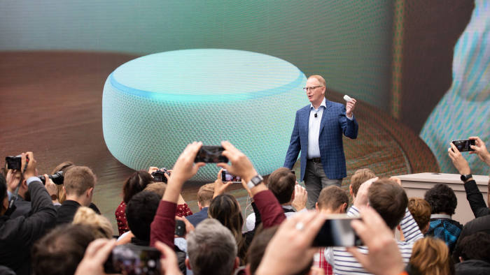 Dave Limp, senior vice president of Amazon devices, announces the new Echo Dot at The Spheres in Seattle on September 20, 2018. - Amazon weaves its Alexa digital assistant into more services and devices as it unveiles new products powered by artificial intelligence including a smart microwave and dash-mounted car gadget. (Photo by Grant HINDSLEY / AFP) (Photo credit should read GRANT HINDSLEY/AFP/Getty Images)