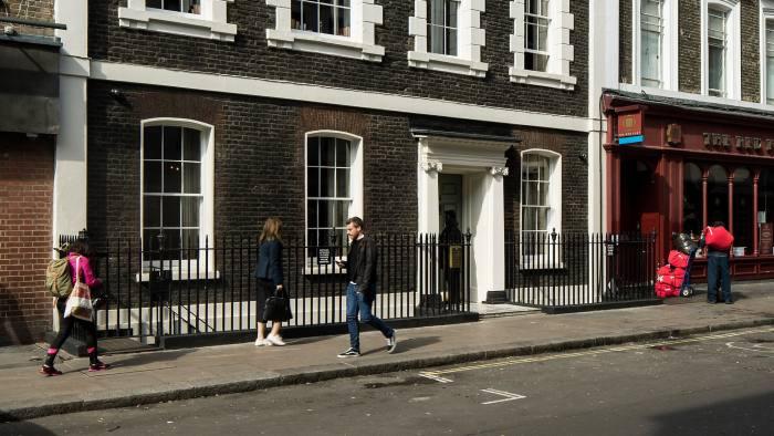 GD5YN8 View of front facade. 76 Dean Street, London, United Kingdom. Architect: SODA., 2016.