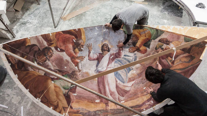 Re-creating the Borgherini Chapel-copyright-Oak-Taylor-Smith-for-Factum-Foundation As part of an upcoming exhibition about Sebastiano del Piombo in the National Gallery of Art, we have been asked to record and reproduce the Borgherini Chapel at the church of San Pietro in Montorio in Rome. The Chapel has been painted by both Sebastiano and Michelangelo. In principle the project will involve recording the color of the walls with panoramic photography in order to make a recreation (not exact facsimile) of the curved wall, the half dome and the flat front to be installed in the NG in London. Adam's initial cost estimation is about 25,000 euros. We have received drawings of the chapel with approx. dimensions so a more accurate quotation should be done. Generali insurance company might be on board for sponsoring part of this project. No dates have been fixed yet for recording.