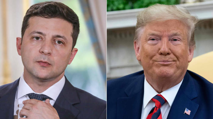 """(COMBO) This combination of pictures created on September 24, 2019 shows Ukraine's President Volodymyr Zelensky in June 17, 2019 in Paris, and US President Donald Trump during a meeting in the Oval Office at the White House in Washington, DC, September 20, 2019. - US President Donald Trump said on September 24, 2019, he will release the """"fully declassified"""" transcript of a controversial call with Ukraine's president which is fueling Democratic calls for his impeachment. """"I am currently at the United Nations representing our Country, but have authorized the release tomorrow of the complete, fully declassified and unredacted transcript of my phone conversation with President Zelensky of Ukraine,"""" Trump tweeted. (Photos by ludovic MARIN and SAUL LOEB / AFP)LUDOVIC MARIN,SAUL LOEB/AFP/Getty Images"""