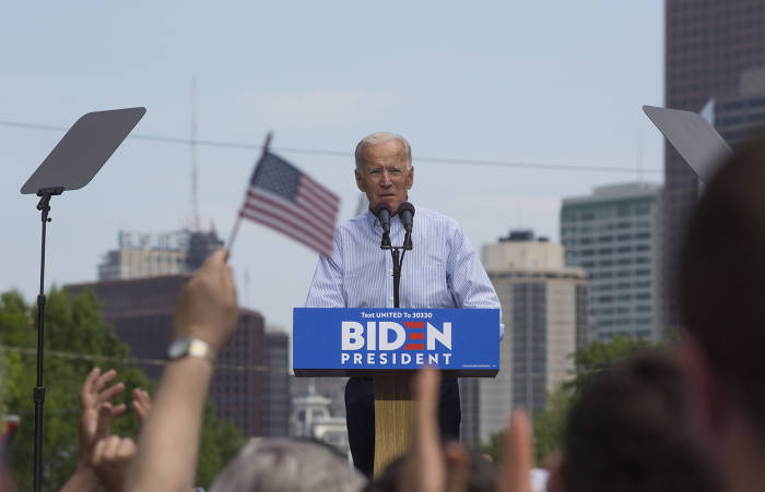 Former vice-president Joe Biden at a rally in Philadelphia to kick off his third presidential run. Biden is currently the Democratic frontrunner, with even his tendency to make gaffes seen as a sign of his 'authenticity' in contrast to Harris's cautiously scripted pronouncements
