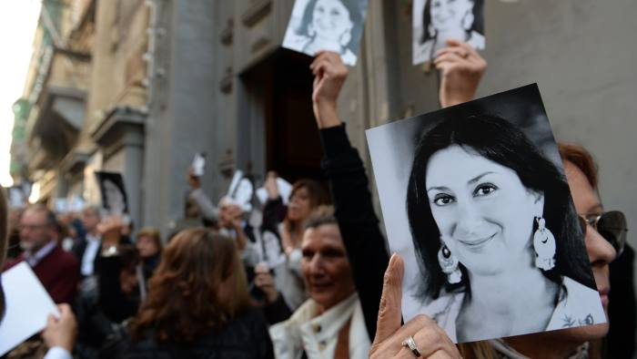 People leave the church of St Francis, after the Archbishop of Malta celebrated mass in memory of murdered journalist Daphne Caruana Galizia on the sixth month anniversary of her death in Valletta, Malta on April 16, 2018. Campaigners in Malta and London has marked the six-month anniversary of the murder of anti-corruption journalist Daphne Caruana Galizia, as her sons accused the Maltese government of allowing