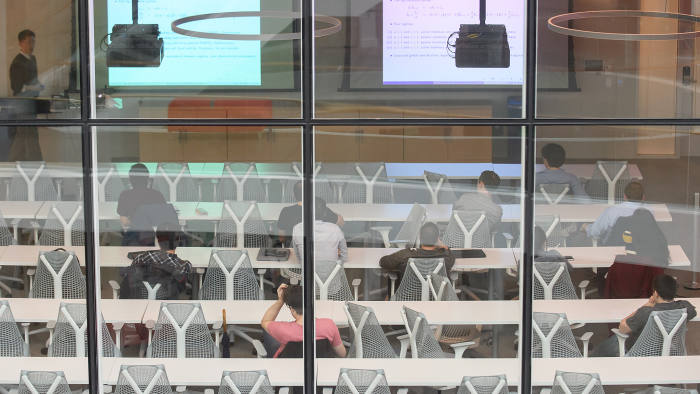 PITTSBURGH-APRIL 26: The atrium at the Tepper School of Business at Carnegie Mellon University on April 26, 2019 in Pittsburgh, Pennsylvania. (Jeff Swensen for The Financial Times)