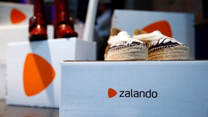 FILE PHOTO: Goods of Zalando Operations, are seen during the company's annual shareholder meeting in Berlin, Germany May 31, 2017. REUTERS/Hannibal Hanschke /File Photo