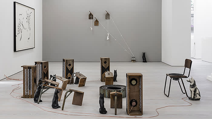 Installation view of Kemang Wa Lehulere's 'not even the departed stay grounded'