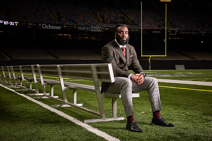 New Orleans Saints linebacker Demario Davis poses for a portrait at the Mercedes-Benz Superdome in New Orleans, Louisiana on December 11, 2019. Davis received an MBA from Indiana University's Kelley School of Business, which partners with the NFL Players Association.