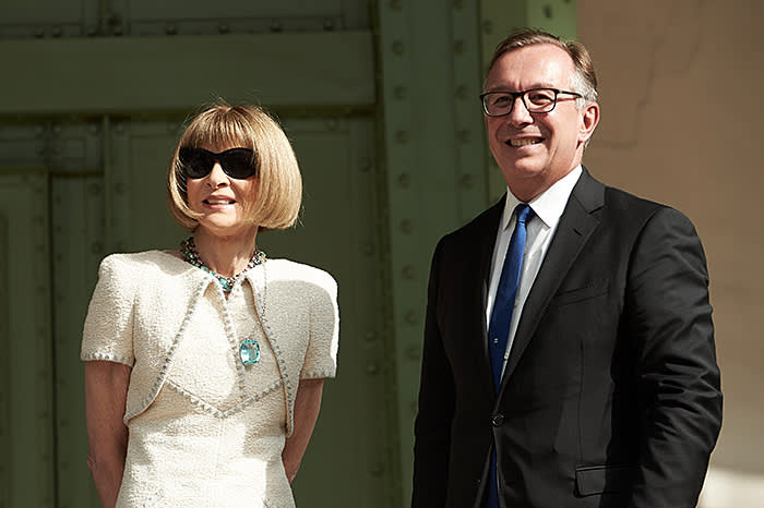 Anna Wintour of US Vogue and Chanel's president of fashion, Bruno Pavlovsky at the Lagerfield memorial
