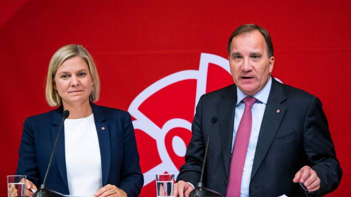 Leader of the Social Democrats and Swedish Prime Minister Stefan Loefven together with Swedish Minister for Finance Magdalena Andersson present the Social Democrats' election manifesto at the party's headquarters on August 28, 2018 in Stockholm. (Photo by Jonathan NACKSTRAND / AFP)JONATHAN NACKSTRAND/AFP/Getty Images