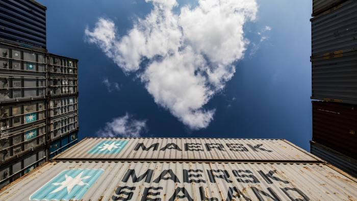 A.P. Moeller-Maersk A/S branded containers sit stacked at the Uiwang Inland Container Depot (ICD) in Uiwang, South Korea, on Tuesday, May 8, 2018. South Korea is scheduled to release trade figures on May 15. Photographer: SeongJoon Cho/Bloomberg