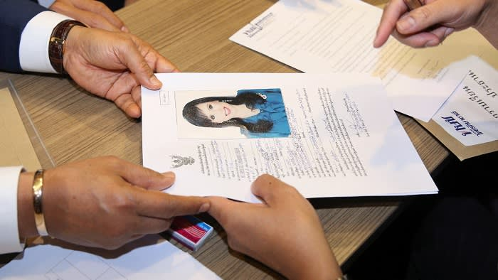 Application form of candidate for Prime Minister, Thailand's Princess Ubolratana Rajakanya Sirivadhana Varnavadi, is seen at the election commission office in Bangkok, Thailand February 8, 2019. REUTERS/Athit Perawongmetha