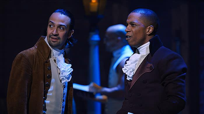 Lin-Manuel Miranda is Alexander Hamilton and Leslie Odom, Jr. is Aaron Burr in HAMILTON, the filmed version of the original Broadway production