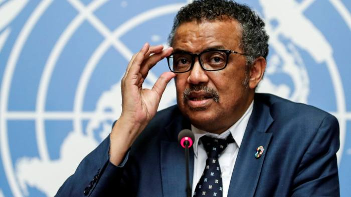 Director-General of the World Health Organization (WHO) Tedros Adhanom Ghebreyesus attends a news conference after an Emergency Committee meeting on the Ebola outbreak in the Democratic Republic of Congo, and two days before the start of the WHO's annual World Health Assembly at the United Nations in Geneva, Switzerland, May 18, 2018.  REUTERS/Denis Balibouse - RC1D5C12A5B0