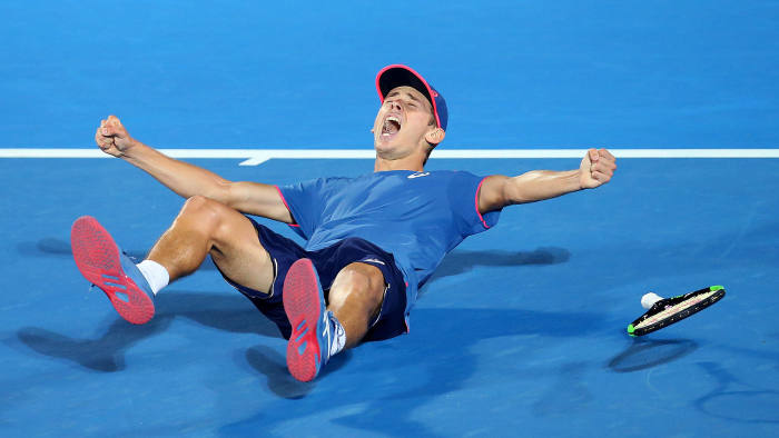 SYDNEY, AUSTRALIA - JANUARY 12: Alex De Minaur of Australia celebrates winning the Mens Singles Final against Andreas Seppi of Italy during day seven of the 2019 Sydney International at Sydney Olympic Park Tennis Centre on January 12, 2019 in Sydney, Australia. (Photo by Jason McCawley/Getty Images)