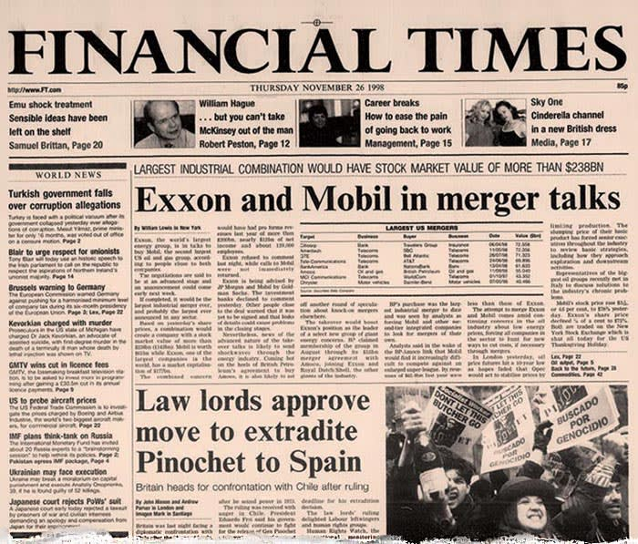 Financial Times newspaper - front page Thursday 26th November 1998 - Thanksgiving - headline about Exxon and Mobil merger