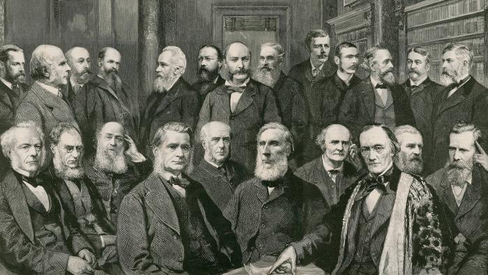 An engraving of the Royal Society, 1889