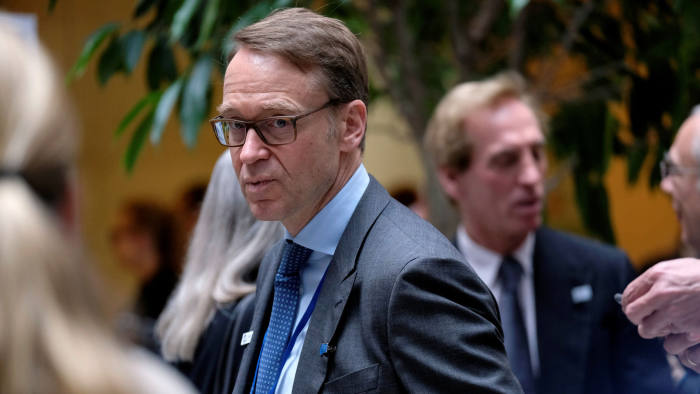 German Federal Bank President Jens Weidmann arrives for a G-20 Finance Ministers and Central Bank Governors' meeting at the IMF and World Bank's 2019 Annual Spring Meetings, in Washington, April 12, 2019. REUTERS/James Lawler Duggan