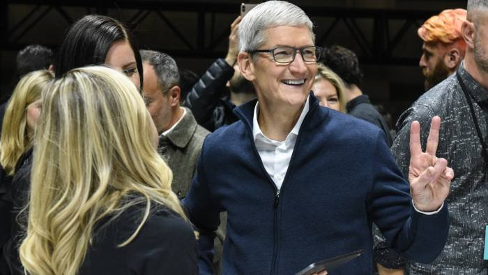 NEW YORK, NY - OCTOBER 30: Tim Cook, CEO of Apple unveils new products during a launch event at the Brooklyn Academy of Music on October 30, 2018 in New York City. Apple debuted a new MacBook Pro, Mac Mini and iPad Pro. (Photo by Stephanie Keith/Getty Images)