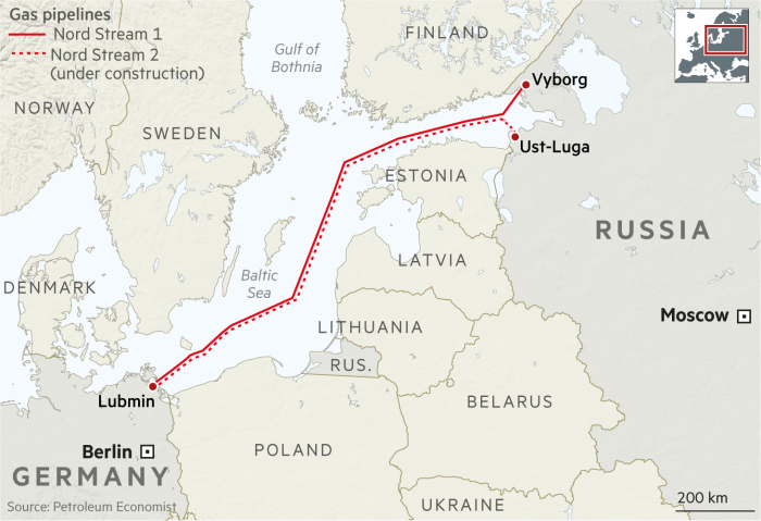 Nord Stream 2 gas pipeline map