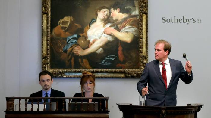 LONDON, ENGLAND - JULY 03: At tonight's Old Masters Evening Sale at Sotheby's in London, the Metropolitan Museum of Art, New York, acquired Johann Liss's 'The Temptation of Saint Mary Magdalene' for £5.7 million ($7.1 million), setting a new record for the artist at auction. The sale, taken by Sotheby's UK Chairman Harry Dalmeny, brought a total of £56.2 million, the company's third highest total for a sale in this category, on July 03, 2019 in London, England. (Photo by Tristan Fewings/Getty Images for Sotheby's)