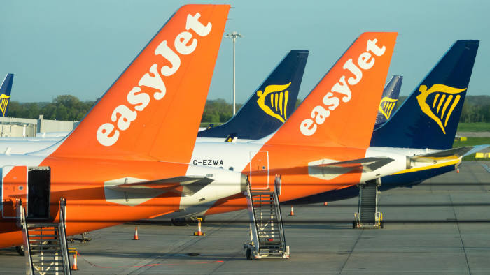 PEXYE0 Easyjet and Ryanair planes at Stansted Airport