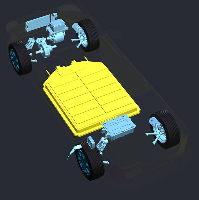Car with transparent body battery