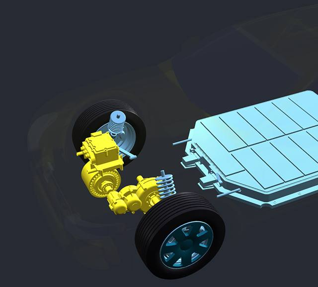 Car with transparent body showing all-electric motor