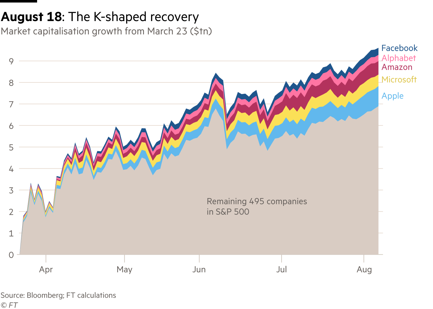 A chart showing the growth in market cap of the five largest companies in the S&P500, which came to account for a quarter of the entire index.