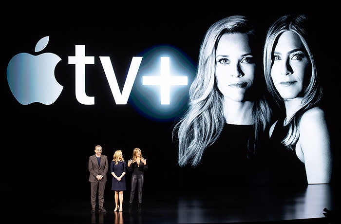 Actors Steve Carell, Reese Witherspoon and Jennifer Aniston speak during an event launching Apple tv+ at Apple headquarters on March 25, 2019, in Cupertino, California.