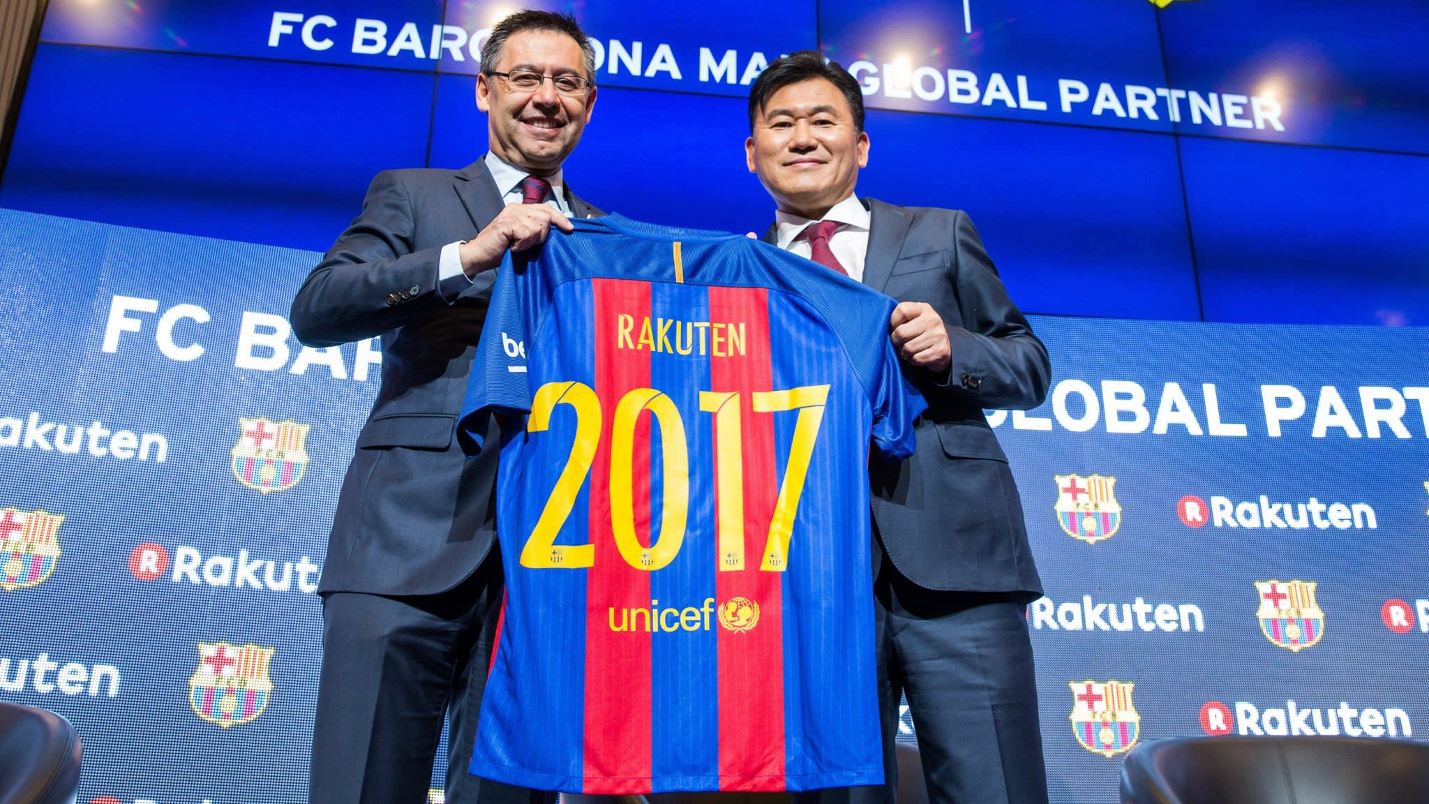Image result for Barcelona get a new sponsorship deal with Japan's Rakuten