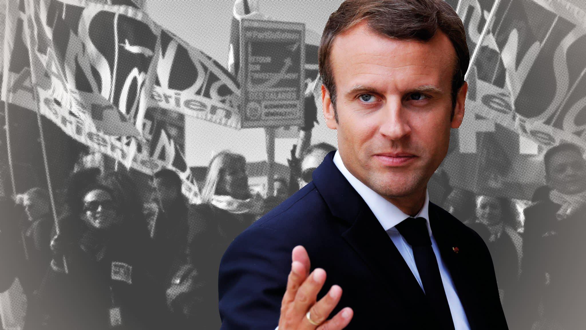 Emmanuel Macron seizes moment to take on French unions