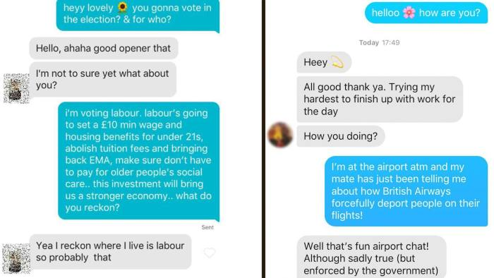 Political campaigners use Tinder bots to charm young