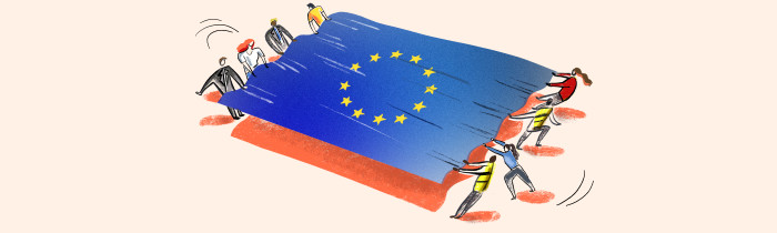 Illustration of the EU flag being pulled from two sides