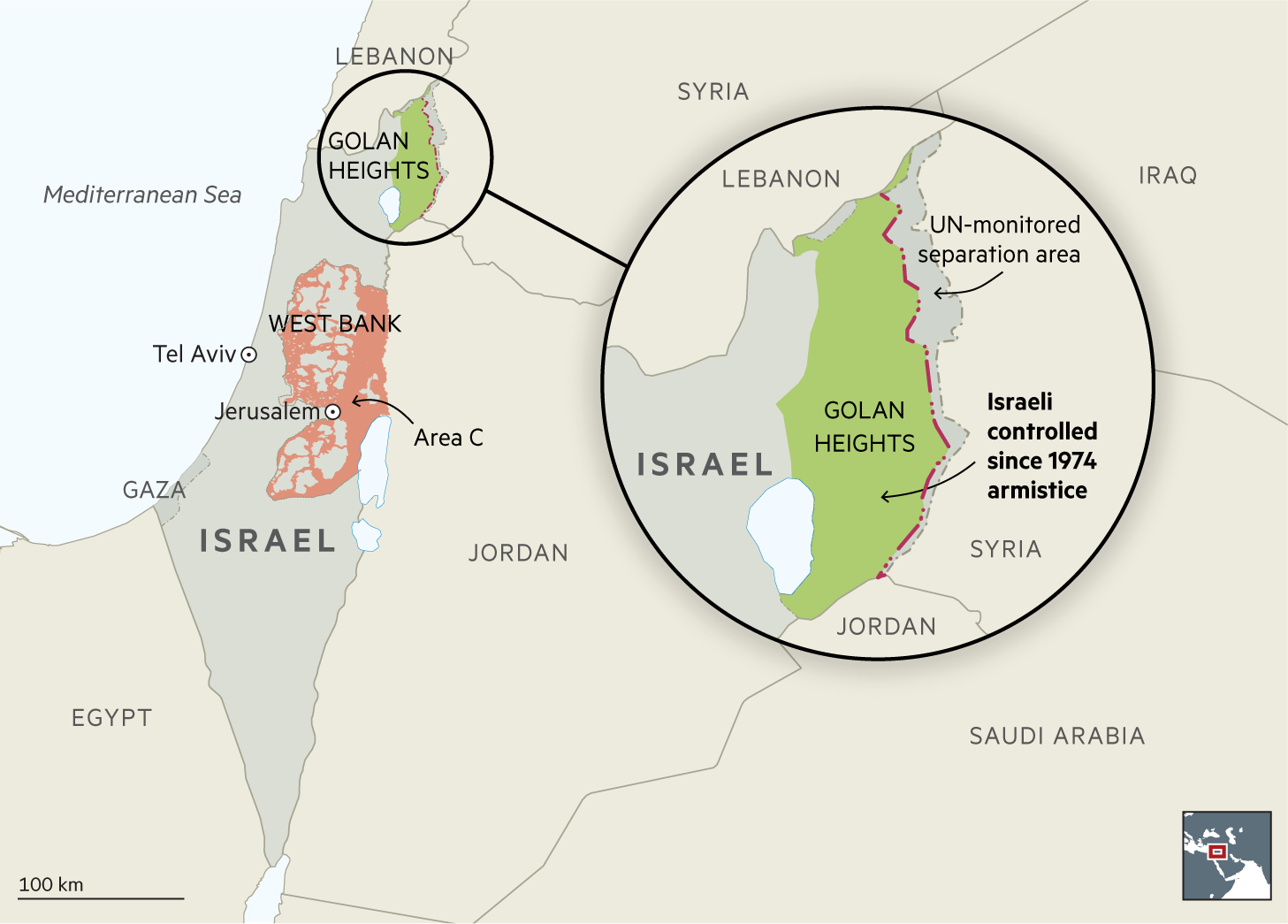 Golan Heights map showing changes to sovereignty as suggested by Donald Trump