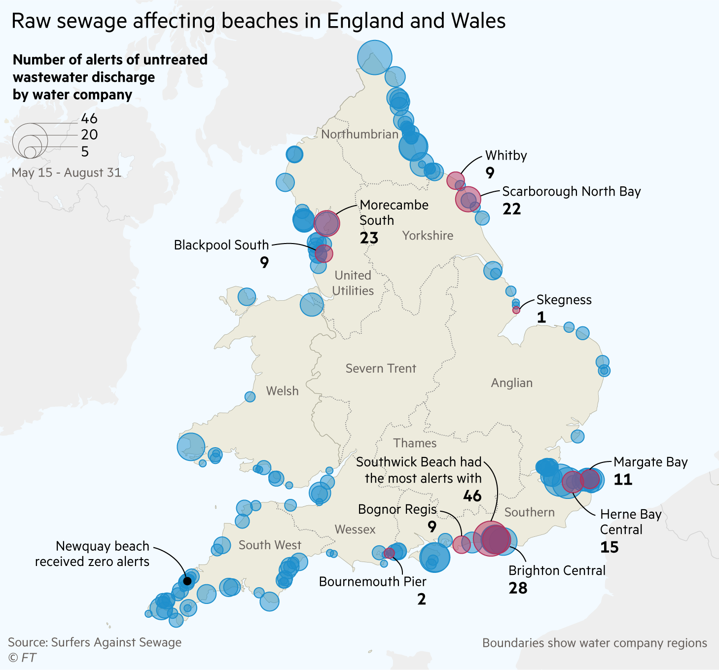 Map showing Number of alerts of untreated wastewater discharge by water company in England and Wales