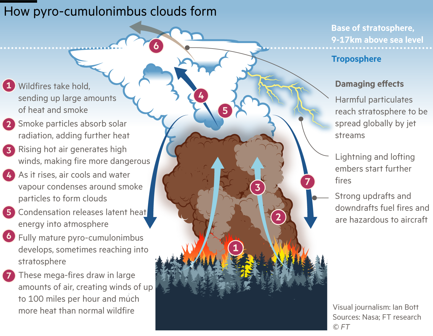 Information graphic looking at the dangers of Pyrocumulonimbus clouds and explaining how they form