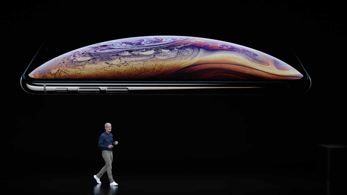 Tim Cook, CEO of Apple, speaks about the iPhone XS and XS Max at an Apple product launch event at the Steve Jobs Theater in Cupertino, California, on Sept.12.
