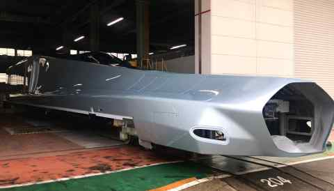 Aprototype nose section, still incomplete, of a next-generation shinkasen bullet train capable of traveling at 360 km per hour. (Photo by Keigo Iwamoto)