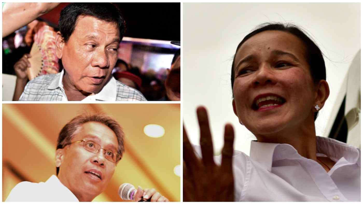 Philippines' leading presidential candidates Grace Poe, right, Rodrigo Duterte, upper left, and Mar Roxas (Photos by Simon Roughneen)