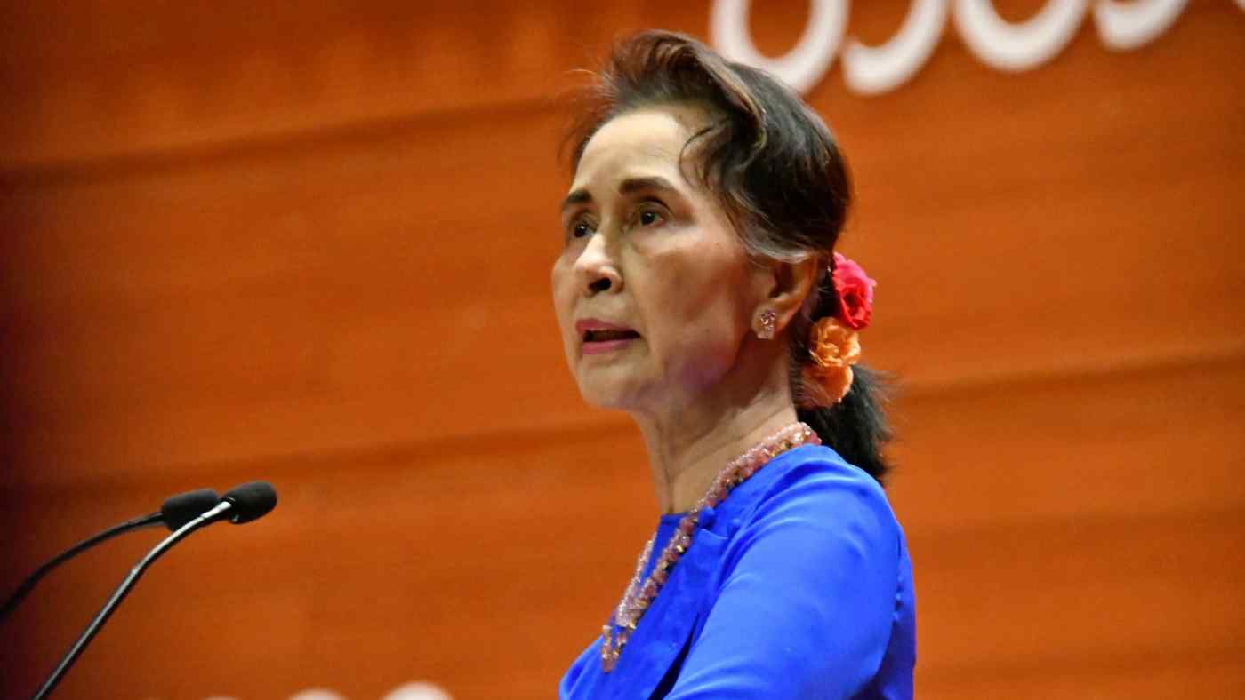 State Counsellor Aung San Suu Kyi speaks at the 21st Century Panglong peace talks. (Photo by Yuichi Nitta)