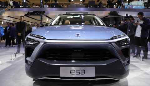 A NIO ES8 electric vehicle is on display at the Auto China 2018 show in Beijing in April 2018.