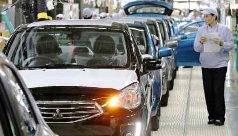 A Thai plant of Japan's Mitsubishi Motors. Southeast Asia's auto production grew by more than China's in the first half of 2018.