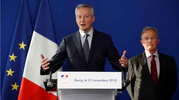 French Finance Minister Bruno Le Maire told reporters Renault would function smoothly under temporary managers, including interim chairman Philippe Lagayette, right.