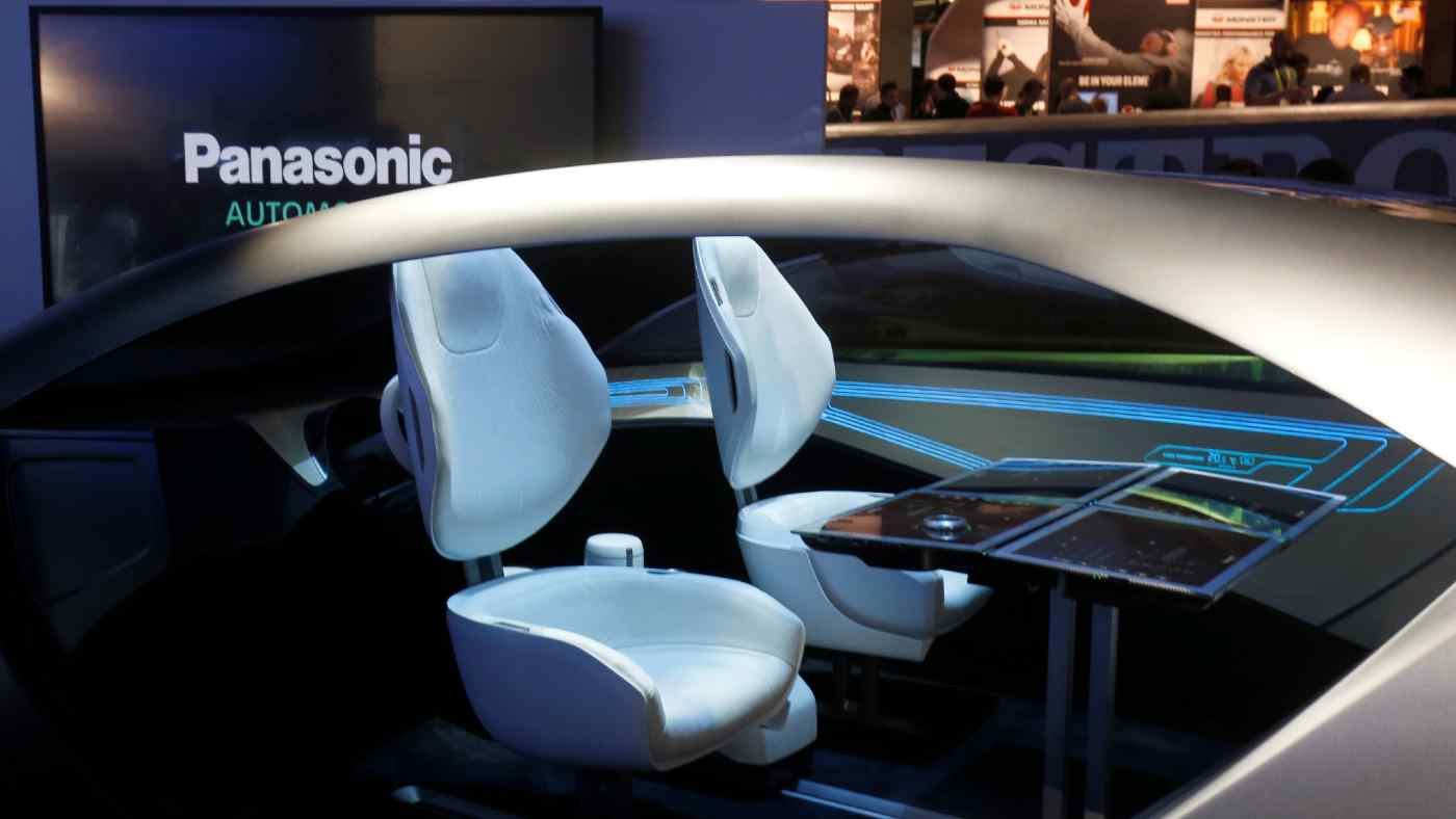 A Panasonic mock-up of an automated car. The company has been testingself-driving tech in Japan for low-speedlocal transport applications.