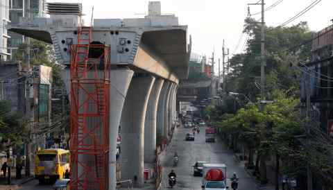An elevated railway under construction in Bangkok. Building railways in Thailand is one possible project Japan and China could undertake.