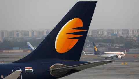 A Jet Airways plane at Chhatrapati Shivaji International Airport in Mumbai.