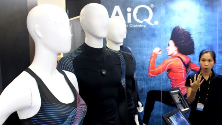 Taiwan's AiQ Smart Clothing showed off its wearable technology at Computex.