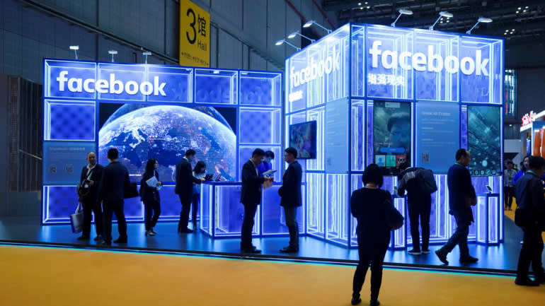 Facebook's booth atthe China International Import Expo in Shanghai on Nov.5.