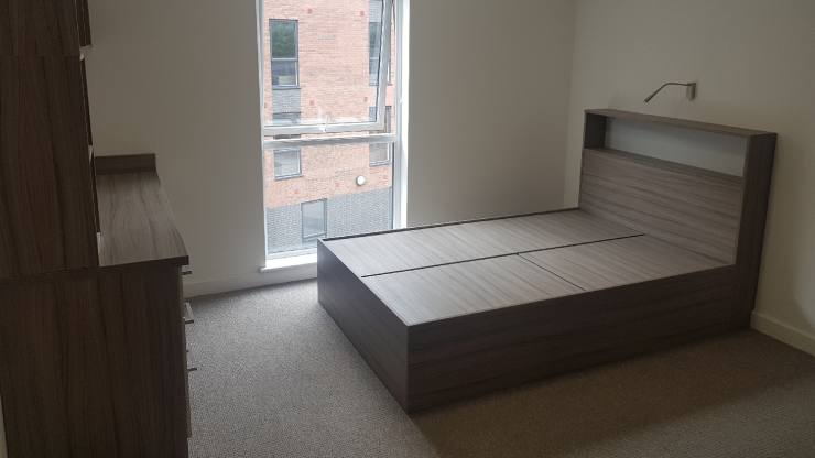 A bedroom at an unfinished student accommodation building in Stoke-on-Trent.