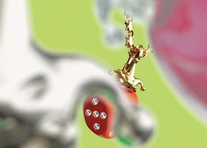 Homer gold, diamond and enamel Jester on Dice pendant, $5,700